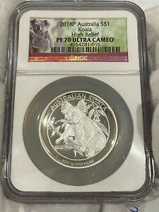 2018 P HIGH RELIEF 1oz Silver Koala $1 Coin NGC PF70 ULTRA CAMEO loc2