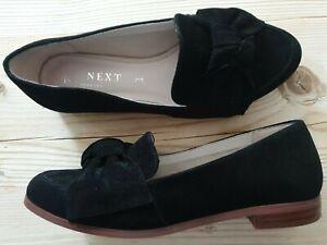 Ladies Next Forever Comfort Black Suede Loafer Slip On Shoes Size 4