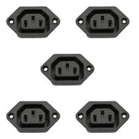 5x IEC320 C14 3 Pin Screw Mount Male Power Socket 10A 250V For Boat AC-002M1 A2