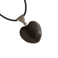 Shungite Heart Pendant Necklace Leather Cord Reiki Healing Crystal Jewelry