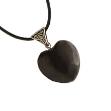 Shungite Heart Pendant Necklace PB-8 19in Leather Cord Free Gift Box Made in USA