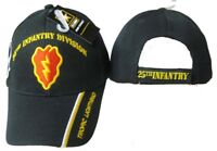 Army 25th Infantry Div Tropic Lightning Embroidered Shadow Black Cap Hat CAP624