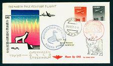 JAPAN 1957 AIRLINES SAS North Pole regular flight - TOKYO to OSLO - seal, bear