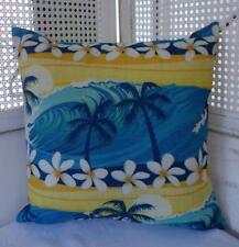Frangipani Retro 50's Surfer Style Beach Coastal Linen Blend Cushion Cover 45