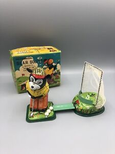 TPS Japan Tin Toy Wind-up Mechanical Bear Golfer w/ Box And Balls -works   Golf