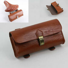 Retro PU Leather Cycling Bicycle Bike Saddle Pouch Storage Bag Rear Tail Box New