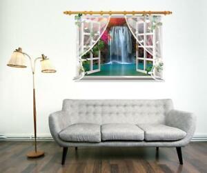 Wall Sticker 3D Window Waterfall Living Room Bedroom Decal Lobby Mural Decor
