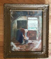 Original Antique 1800s Artist Water Color Carved Wood Frame  M. Woolensweber