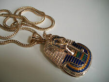"GOLD Finish 3D Mask Egypt PHARAOH PENDANT 36""CHAIN HIP HOP NECKLACE"