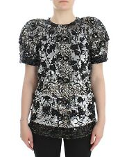 NWT $19800 DOLCE & GABBANA Black Clear Crystal Runway Blouse Top IT38/ US4 / XS