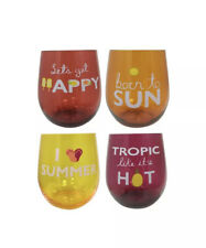 Celebrate Summer Together Floral 4 Pc Stemless Wine Glass Cups Drinkware Set