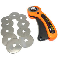 45mm Rotary Cutter Quilters Sewing Quilting Fabric Cutting Craft & 10pcs Blades