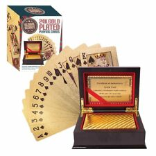 Gold Foil Playing Cards Water-proof 24K Poker Casino Table Game - Global Gizmos