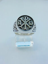 Alpha and Omega - Chi-rho Sterling Silver Ring Men Christian Ring Silver 925