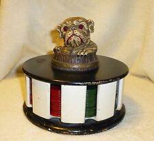 Vintage Art Deco Bakelite Bull Dog Poker Chip Set Original Chips