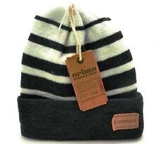 Winter Urban Pipeline Black White Reversible Striped Men Women Beanie 1Size 0102