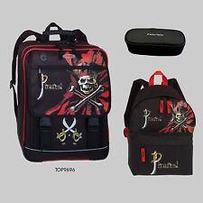 Schulrucksack + Rucksack + Federmäppchen PIRAT schwarz - rot