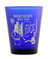 NORTHERN IRELAND BELFAST COBALT BLUE FROSTED SHOT GLASS SHOTGLASS