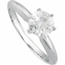 4.20 CT Moissanite 6-Prong Heavy Solitaire Engagement Ring 14K White Gold