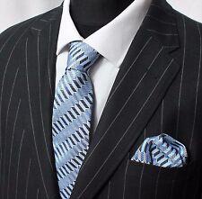 Tie Neck tie with Handkerchief Blue Black Silver Gold