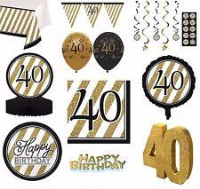Negro & DORADO AÑOS 40 - Feliz 40 CUMPLEAÑOS Artículos Fiesta Decoración Vajilla
