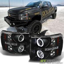 Black 2007-2013 Silverado 1500 2500 3500 CCFL HALO+LED DRL Projector Headlights