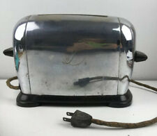 Vintage Art Deco Toastwell Electric Chrome Toaster Two Slice Cloth Fabric Cord