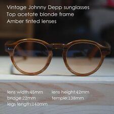 Retro Vintage sunglasses Johnny Depp style mens eyeglasses blonde amber lenses