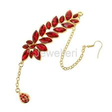 Red Flower Crystal Drop Hair Clip Tikka Indian Forehead Jewelry Hair Chains