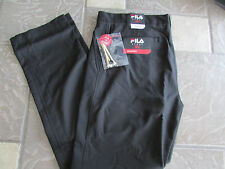 NEW FILA BLACK GOLF PANTS MENS 34X32 FLAT FRONT 100% POLYESTER  FREE SHIP!