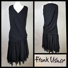 Frank Usher Black Gatsby Flapper Style Tiered Floaty Dress Size UK 16