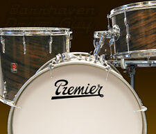 Premier, Vintage, Repro Logo #2 - Adhesive Vinyl Decal, for Bass Drum Reso Head