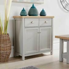 Grey Oak Sideboard 2 Door 2 Drawer Storage Cupboard With Shelf and Metal Handles