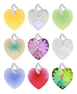Sterling Silver Pendants made with 6228 Heart Swarovski® Crystals * Many Sizes