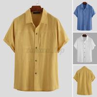 Men 100%Cotton Short Sleeve Shirt Collared Formal Shirt Blouse Tops T Shirt Tee