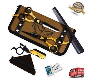 "New Professional Barber Hairdressing Scissors Set 6.5"" Gold Edition & Razor Kit"