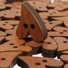 100 Lots Brown Wood Wooden Sewing Heart Shape Button Craft Scrapbooking Buttons