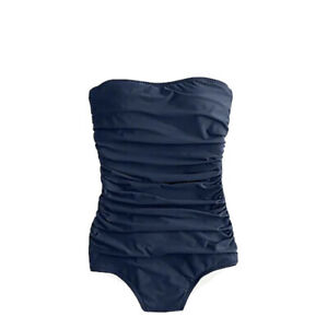 New J Crew Long torso ruched bandeau one-piece swimsuit Navy Blue 12 B6841