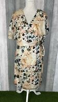 Phase Eight Jen Cream Floral Kimono Sleeve Wrap Midi Dress Size UK 16 Occasion