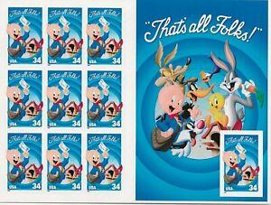 2001 34 cent Porky Pig full Sheet of 10 Scott #3534, Mint NH