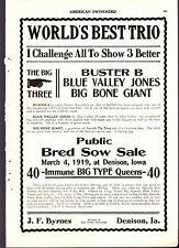 1919 American Swineherd Hog Sale Ads  Byrnes in Densison IA Sampson St Joseph MO