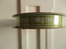 Dovecraft Grosgrain Christmas Ribbon - Merry Christmas on Green