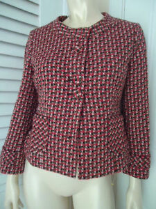 Ann Taylor Loft Blazer 4 Retro Style Wool Blend Unique Button Front