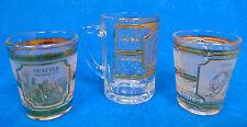 Lot of 3 Shot Glasses Las Vegas Texas Seattle Space Needle Culver Brand Vintage