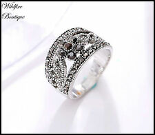 Vintage Antique Silver Marcasite Style Band Ring w/ Flower & Gunmetal Diamantes