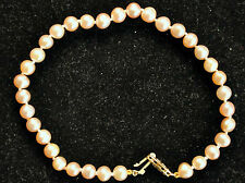 Beautiful Pink Pearl Bracelet with 14K Solid Gold Clasp
