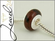 Bead echt Silber 925 Sterling Mahagoni-Jaspis Charm Element für Bettelarmband