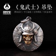 Ghost Knight Head Skull Samurai Decorative Men's Gift Pendant Silver Gold Strap