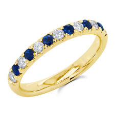 14K Yellow Gold Natural Blue Sapphire Diamond Anniversary Ring Wedding Band