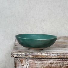 Courgette Green Pasta Bowl, Clay Ceramic Shallow Soup Dessert Rustic Dinnerware
